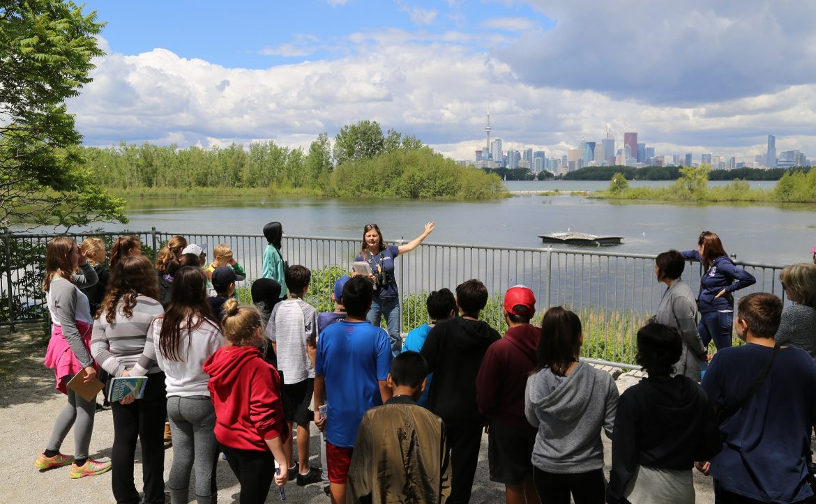high school group visits Tommy Thompson Park