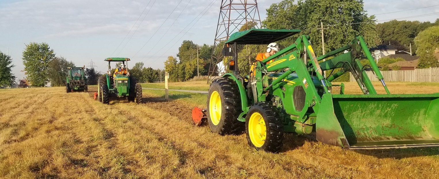 TRCA field staff use heavy machinery to conduct meadow restoration work in The Meadoway