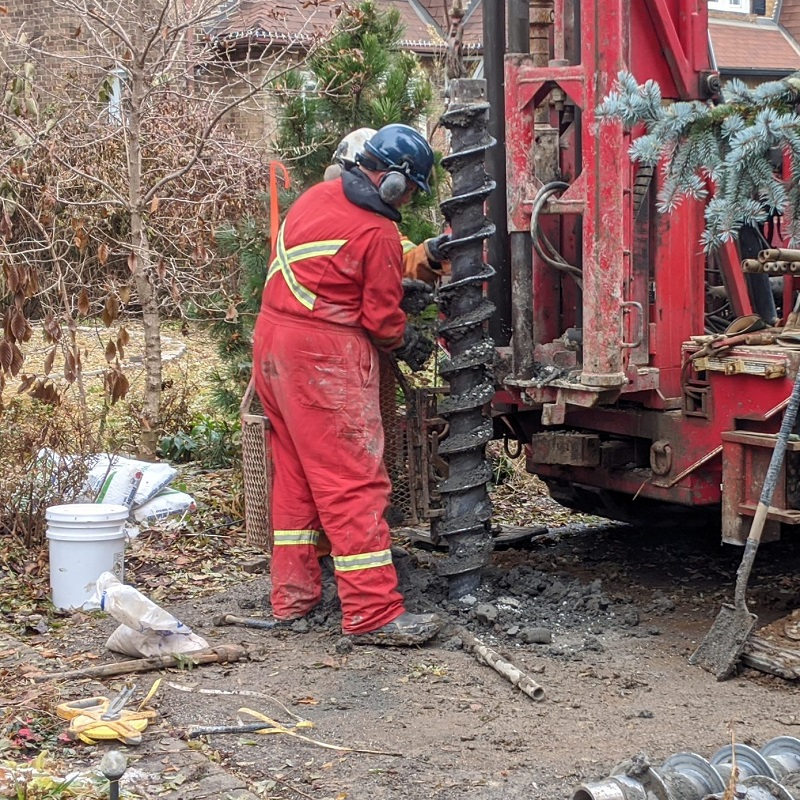 TRCA Erosion Risk Management field staff drill a borehole