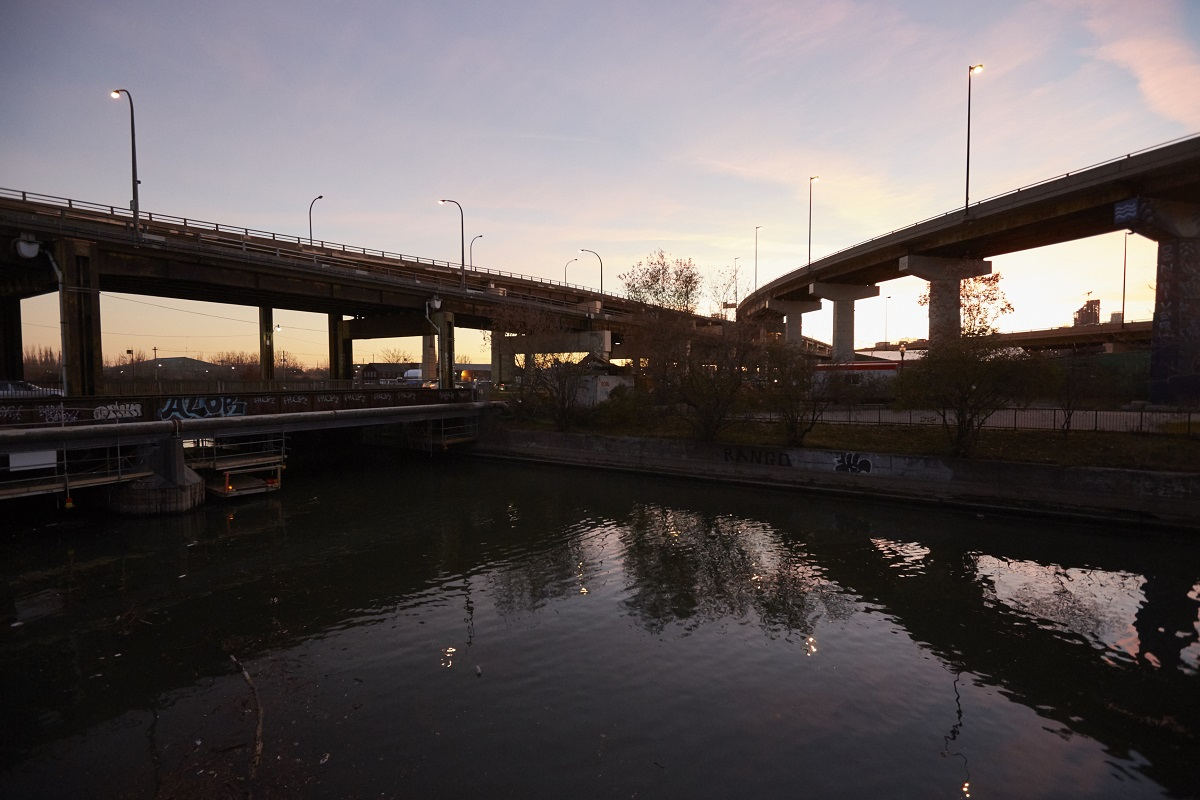 overpasses span the Don River at sunset