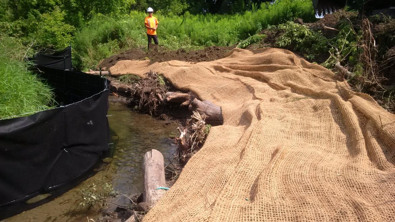 Riparian work along a stream